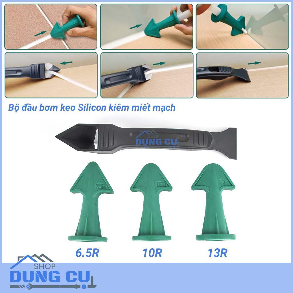 Bộ đầu bơm keo silicone kiêm chỉnh mạch kèm dụng cụ làm sạch