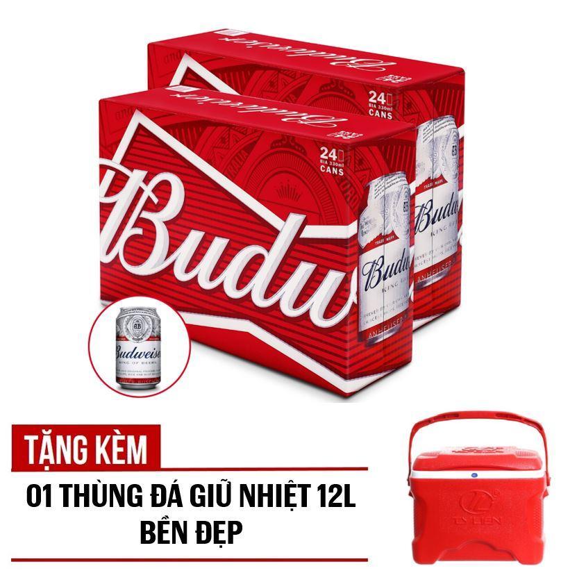 Bộ 02 thùng Budweiser lon 330ml - Thùng 24 Tặng kèm 01 Thùng giữ nhiệt 12L