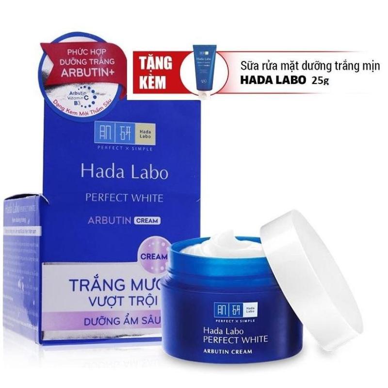 Kem dưỡng trắng Hada Labo Perfect White 50g (Tặng SRM 25g)