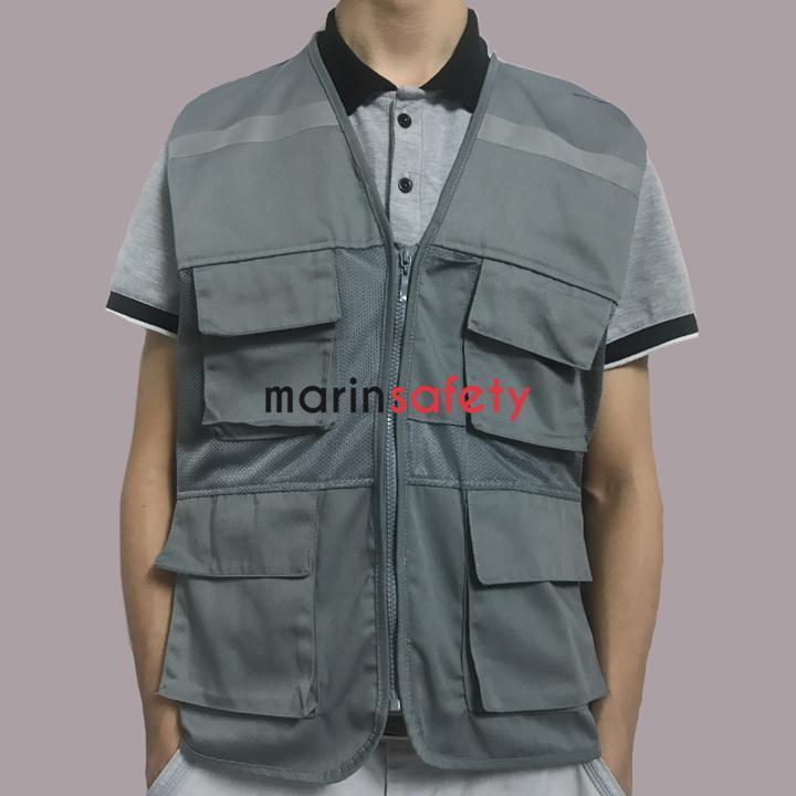 Áo gile bảo hộ 4 túi hộp vải lưới màu ghi đậm (LOẠI TỐT)