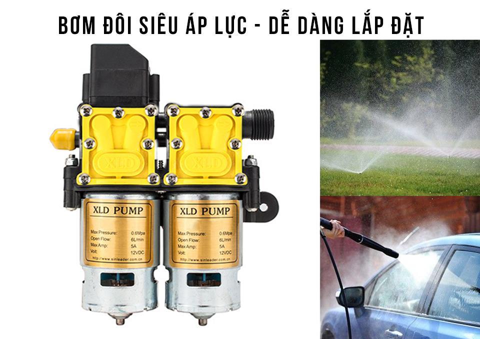 Hình ảnh MÁY BƠM Nước mini F9 - Máy Bơm Đôi - Máy Bơm Tăng Áp - Máy bơm phun sương rửa xe