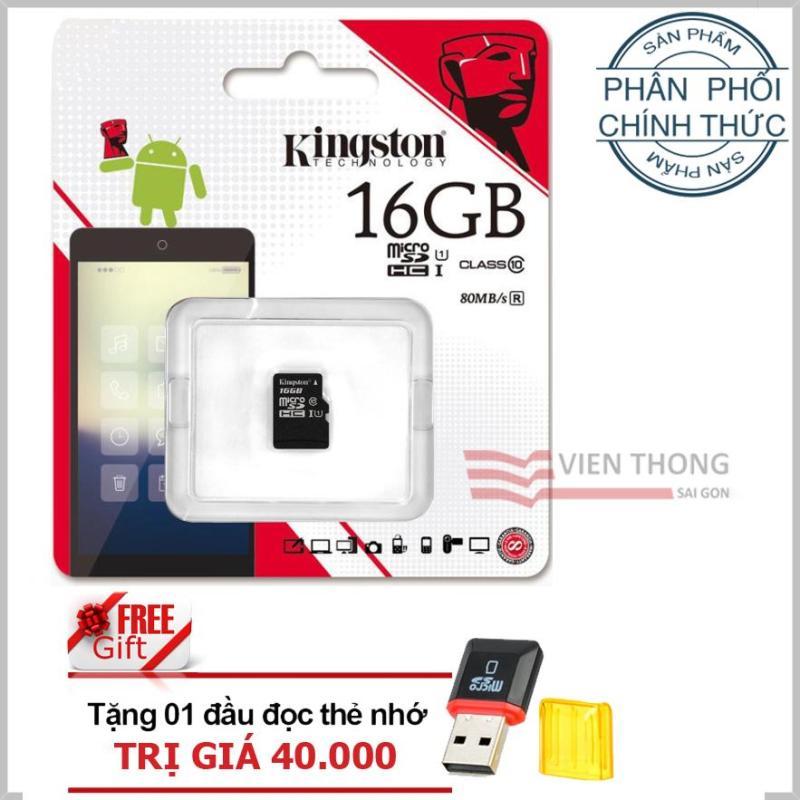 Thẻ nhớ 16gb Class10 Kingston microSDHC + Tặng 1 đầu đọc thẻ nhớ PT