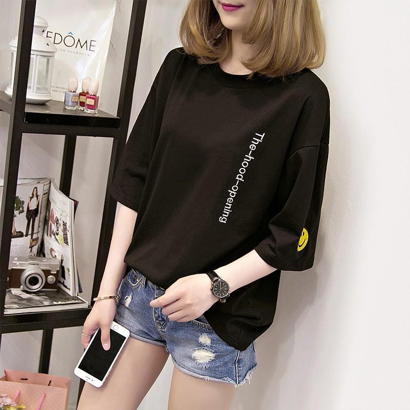 Áo thun nữ phong cách Hàn Quốc hình mặt cười ở tay áo from rộng vải dày mịn - Thời Trang GMH