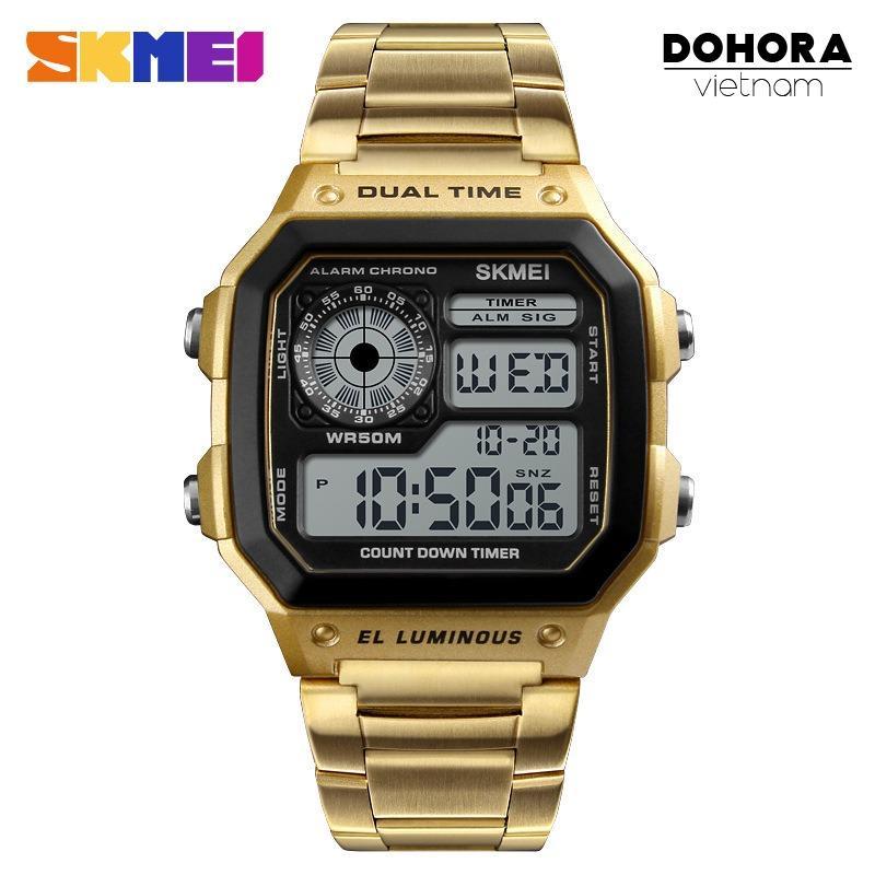 Đồng hồ thể thao điện tử nam Skmei D044 Digital Watch dây thép không gỉ