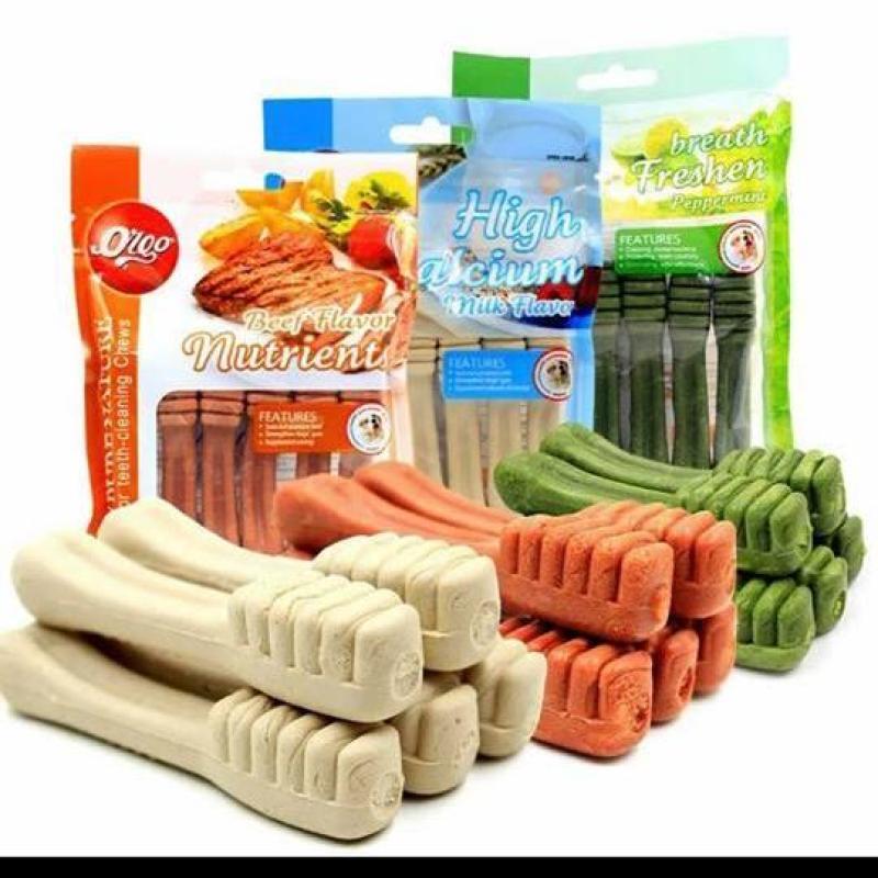 Đồ Ăn Vặt Xương Gặm Sạch Răng Hình Bàn Chải Calcium Vị Bò Sữa Bạc Hà ORGO BÌ LỚN