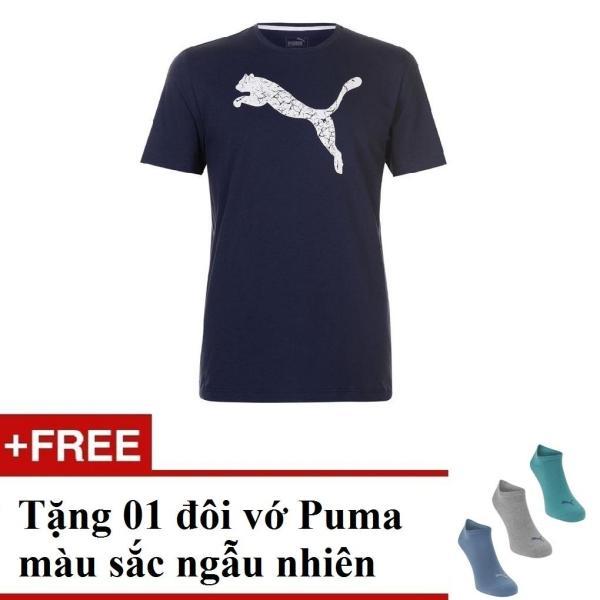 Áo thun nam Puma BigCat (màu xanh Navy) + Tặng 1 đôi vớ Puma
