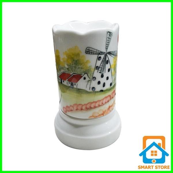 Đèn xông tinh dầu sứ Bát Tràng hình Ống cỡ TO 9 x 16,5cm / Đuổi muỗi Diệt muỗi Đèn trang trí SS34