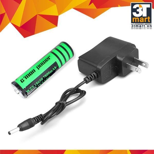 Bảng giá Bộ 1 pin sạc li-ion 18650 7800mAh 3.7V và bộ sạc trực tiếp dùng cho các loại đèn pin (đen)