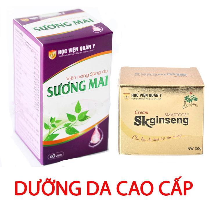 Combo kem dưỡng da Sk Ginseng và Viên uống trắng da Sương Mai HVQY