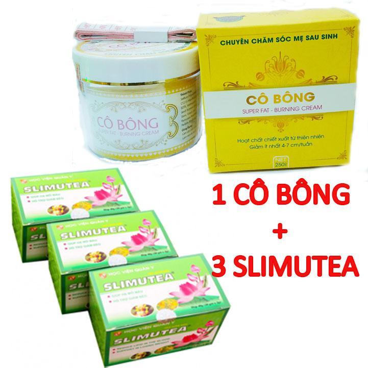 Liệu trình giảm cân Kem tan mỡ bụng Cô Bông (250g) và 3 Trà giảm cân Slimutea HVQY