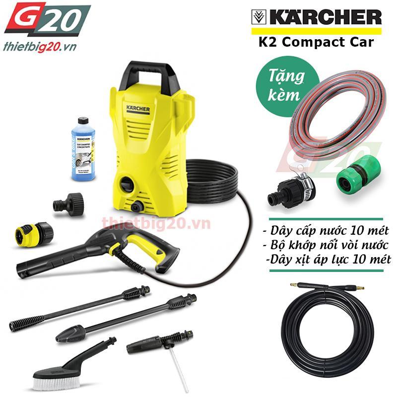 Máy rửa xe gia đình Karcher K2 Compact Car EU kèm ống dây xịt áp lực 10 mét