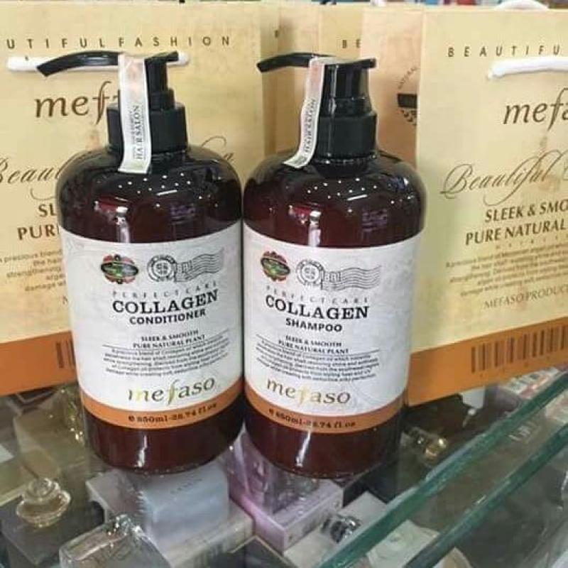 Cặp dầu gội xả Collagen Mefaso ( 2chai x 850ml) siêu mềm mượt giá rẻ
