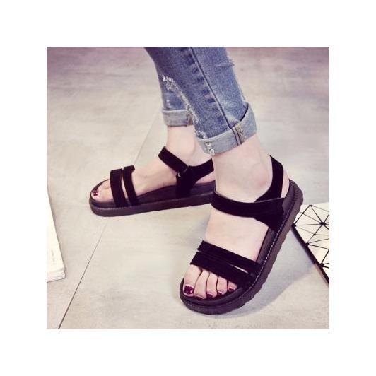 Giày sandal 2 dây nhung xuồng 4p ĐEN