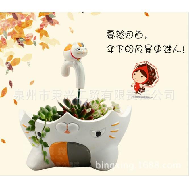 Hình ảnh Chậu Cây Bonsai DIY Hình Mèo Thần Tài Màu Trắng (Chỉ Bán Chậu - Không Kèm Cây Và Sỏi)(SMD-25.2)