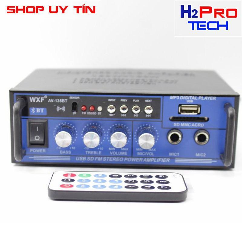 Ampli mini WXF AV-136BT 12V/220V - Audio 360W Bluetooth KARAOKE (Đen)