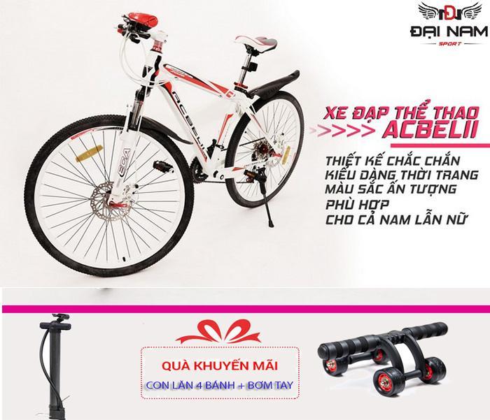 Xe đạp thể thao địa hình gấp gọn ACBElI (Đỏ trắng) + Tặng con lăn 4 bánh vs bơm tay