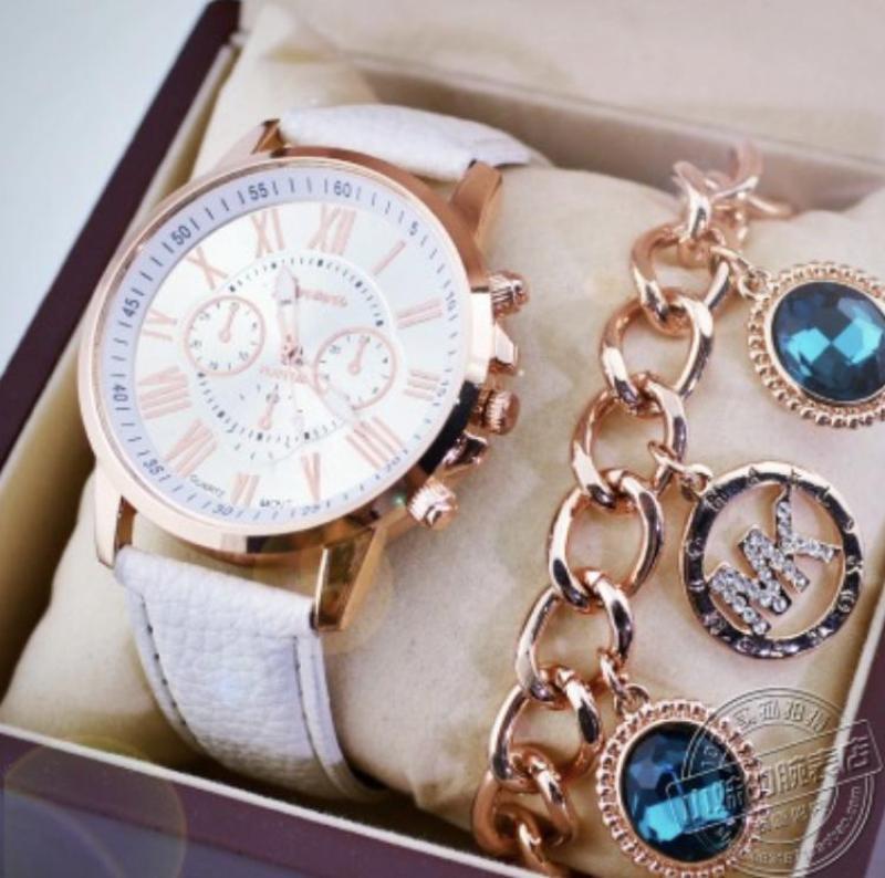 Đồng hồ nữ dây da tổng hợp Geneva GE003-2 (Trắng)
