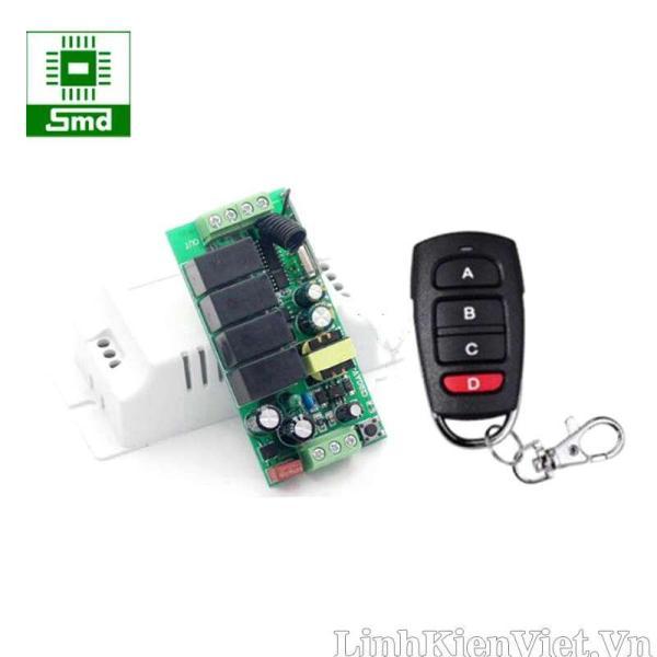 Bộ điều khiển thiết bị RF 4 kênh 433MHz 220V học lệnh (3 chế độ)