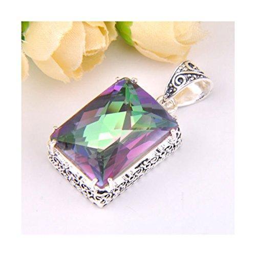 YANYI Amazing Shining Ct Huge Vintage Natural Rainbow Mystical Topaz Gemstone Silver Necklace Pendant Color 7
