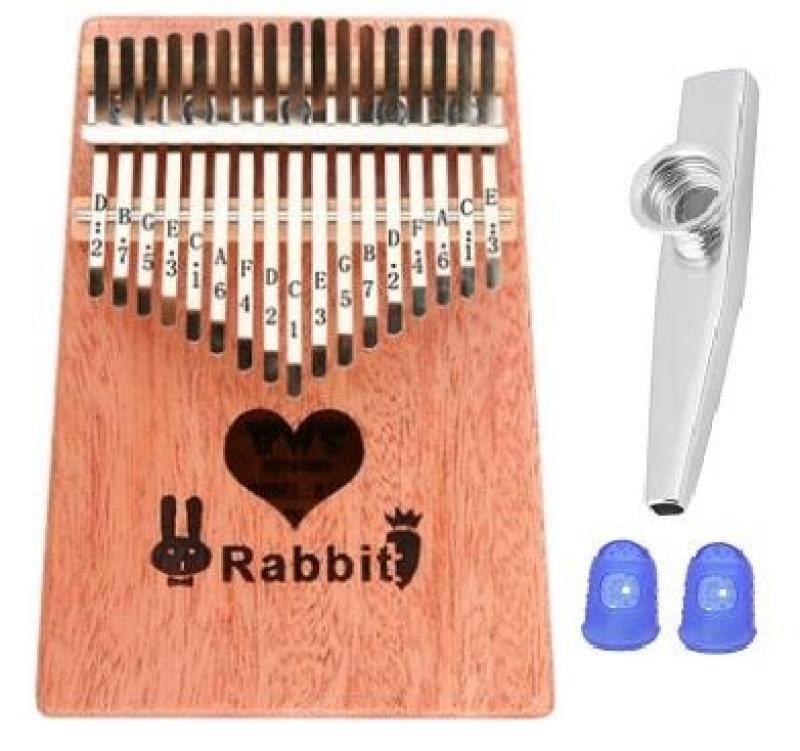 Đàn Kalimba 17 Phím BWS Rabbit (Solid Mbira Thumb Finger Piano 17 Keys - Kèm túi, hướng dẫn, búa lên dây, dán nốt - Cho trẻ cảm thụ Âm Nhạc và người mới chơi Nhạc Cụ) Kèm Kèn Kazoo + bọc ngón tay