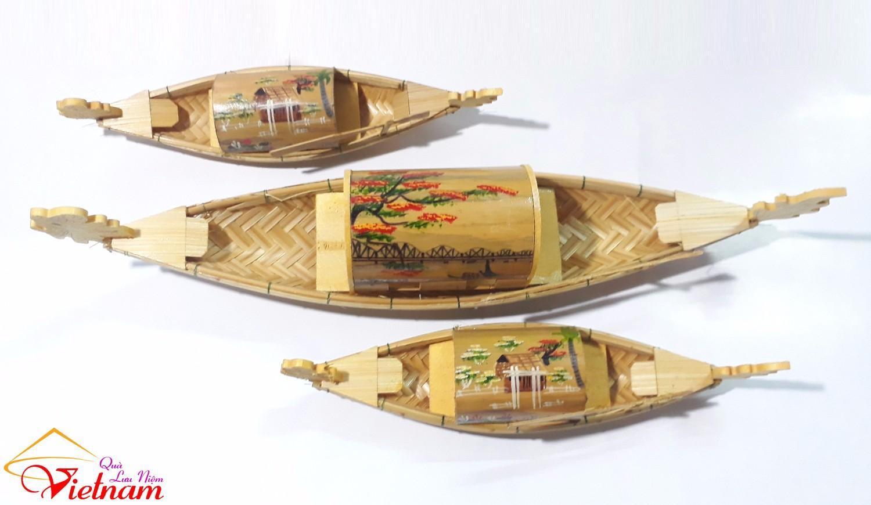 Bộ 3 Mô Hình thuyền rồng ( + TẶNG 1 móc khóa gỗ di lạc ) MIỄN SHIP
