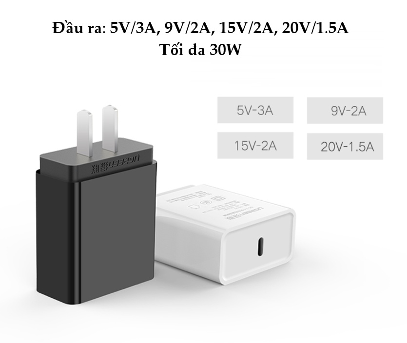 Cốc sạc nhanh cổng USB type C chân cắm kiểu USA UGREEN CD127