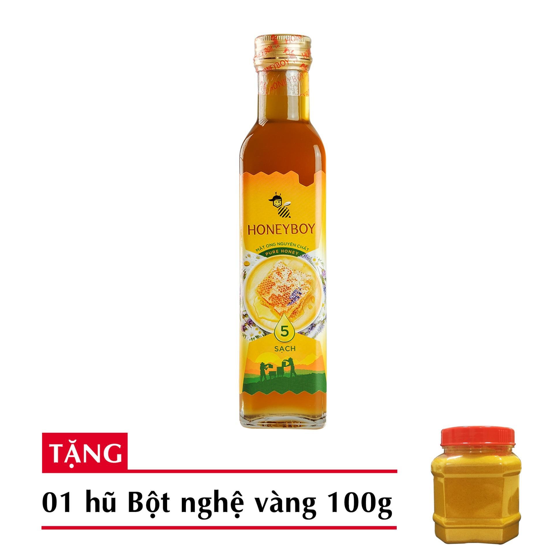 Mật Ong Thiên Nhiên 5 Sạch Honeyboy 250ml tặng bột nghệ vàng nguyên chất 100g