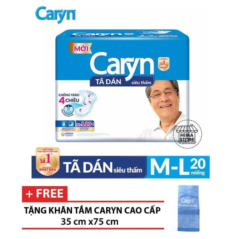 [BAO BÌ MỚI+TẶNG KHĂN TẮM CARYN CAO CẤP 35 cm x 75 cm] Tã dán người lớn siêu thấm Caryn m/L20 20 miếng (68-122 cm) tốt nhất