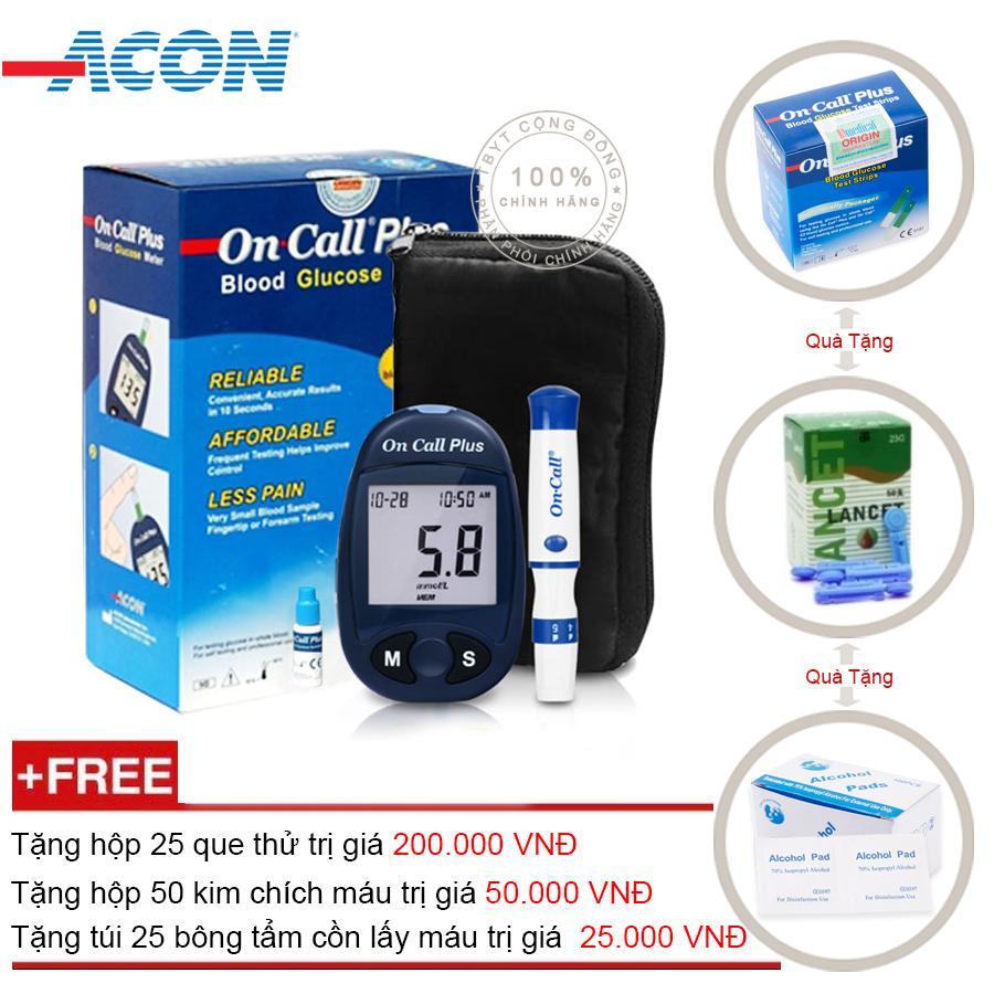 Hình ảnh Máy đo đường huyết Acon On call Plus + Tặng ngay hộp que thử 25 test + Hộp 50 kim chích máu + Tặng túi 25 bông tẩm cồn lấy máu
