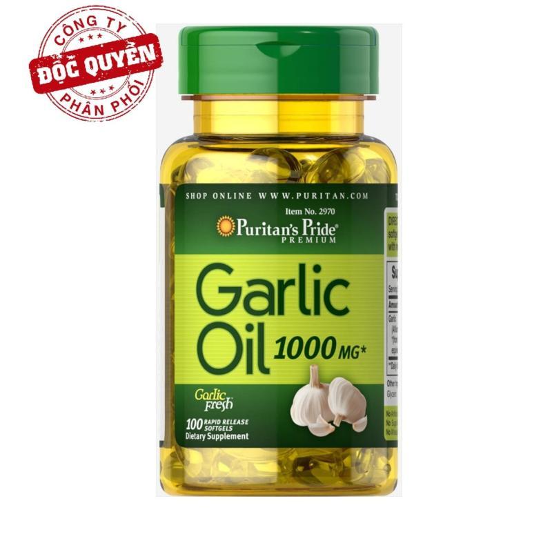 Dầu tỏi tăng cường hệ miễn dịch, hỗ trợ phòng ngừa cảm cúm, giảm cholesterol Puritans Pride Garlic Oil 1000mg 100 viên HSD tháng 08/2020 nhập khẩu