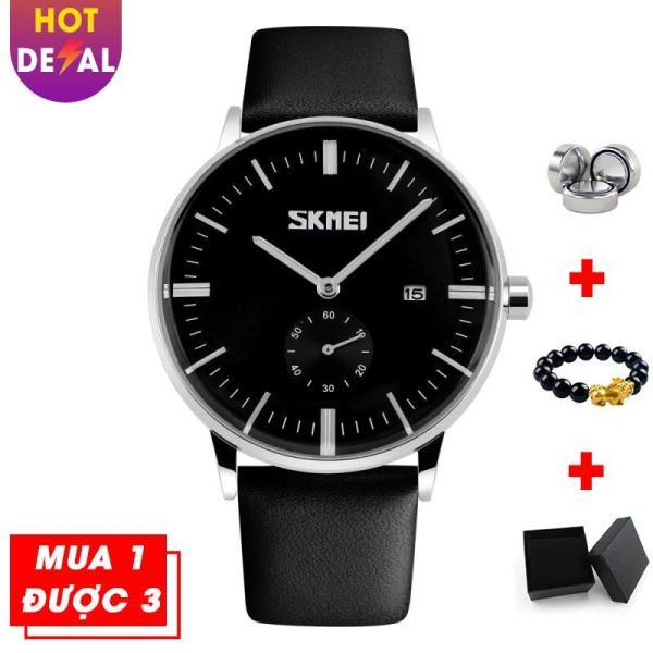 Đồng hồ nam SKMEI VK007 dây da cao cấp sang trọng lịch lãm