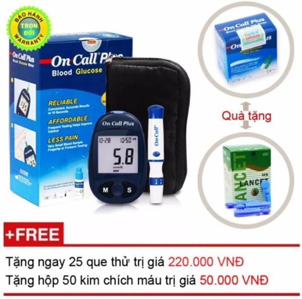 Nơi bán Máy đo đường huyết Acon On call Plus + Tặng ngay hộp que thử 25 test + Hộp 50 kim chích máu
