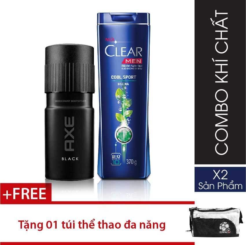 Hình ảnh Combo 1 Clear Men dầu gội Mát Lạnh Bạc Hà 370g + 1 Xịt ngăn mùi toàn thân Axe Black 150ml + Tặng 1 túi du lịch