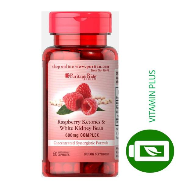 Viên uống hỗ trợ giảm cân Puritans Pride Raspberry Ketones & White Kidney Bean 600mg Complex 60 viên