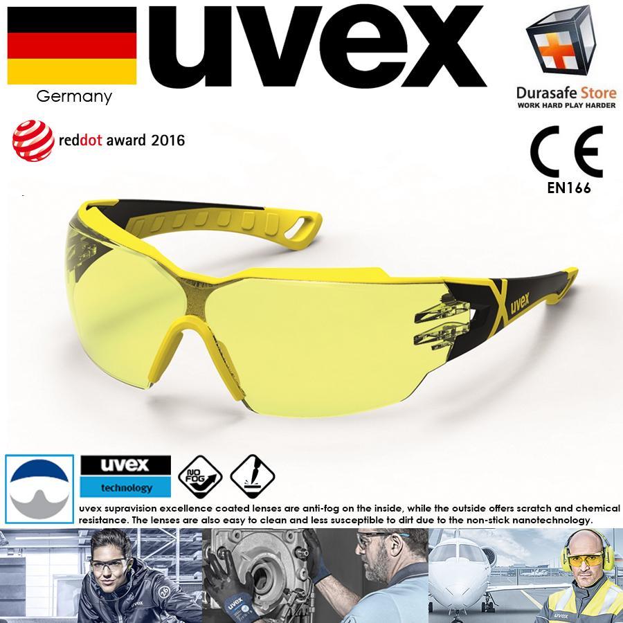 KÍNH UVEX 9198285 Pheos CX2 Safety Spectacle Yellow Frame Amber Supravision Excellence Len (tặng kèm hộp đựng kính)