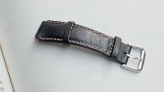 Dây đồng hồ nam da bò handmade mầu đen - Dây đồng hồ handmade nam da bò nhập khẩu - Dây đồng hồ Mino Crafts size 18 - 16mm DA1801C thumbnail