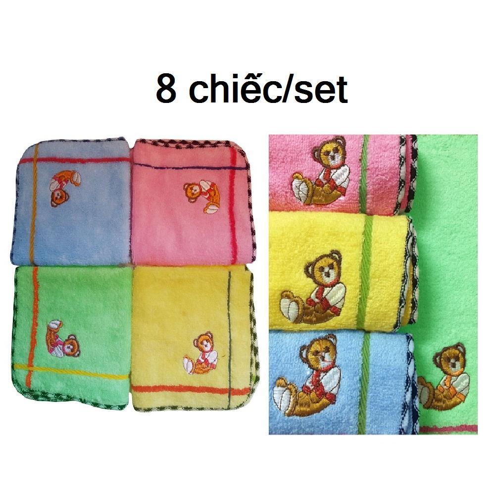 Bộ 8 chiếc khăn mặt trẻ em cao cấp 26x26cm hàng VNXK khăn baby thêu gấu đẹp làng dệt Phùng Xá- Mỹ Đức chất lượng cao 100% cotton tự nhiên mềm mịn thấm hút tốt, món quà ý nghĩa cho mọi gia đình