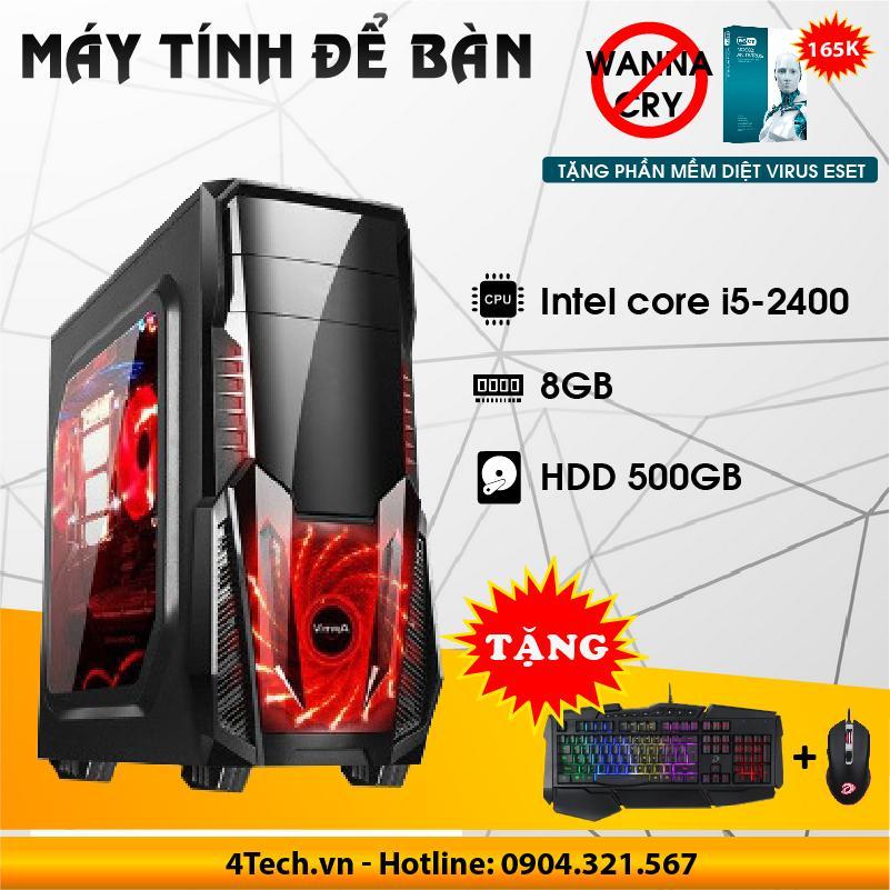 Hình ảnh Máy tính để bàn Core i5, RAM 8GB, HDD 500GB - Tặng bộ phím chuột gaming (Đen)