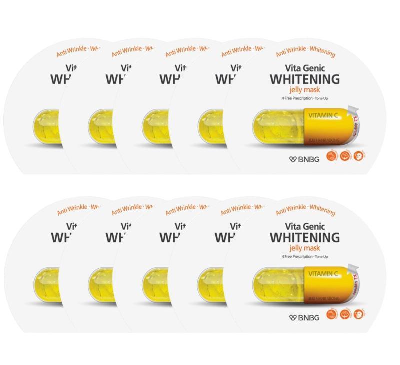 Hộp 10 gói Mặt nạ giấy dưỡng da trắng sáng và làm đều màu da  Banobagi Vita Genic Whitening Jelly Mask (Vitamin C) 30ml x10 nhập khẩu