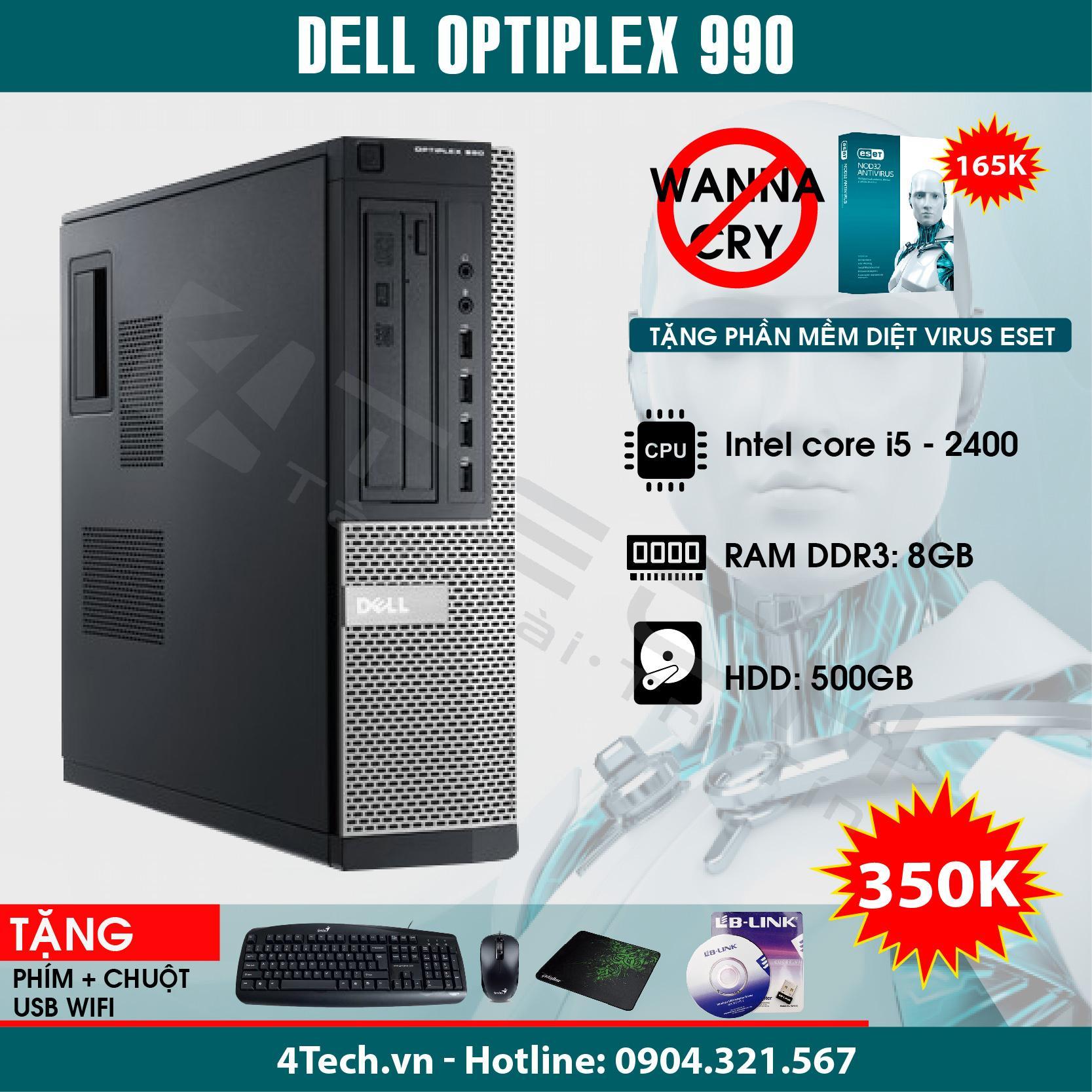 Máy tính đồng bộ Dell Optiplex 990 Intel Core i5 2400, RAM 8GB, HDD 500GB (Tặng bộ Bàn phím + chuột + bàn di + USB Wifi) - Hàng nhập khẩu