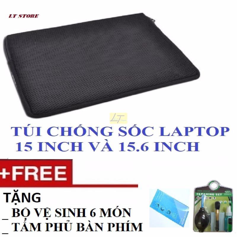 Túi chống sốc laptop 15 - 15.6 inch loại dày Tặng bộ vệ sinh 6 món, tấm phủ bàn phím laptop