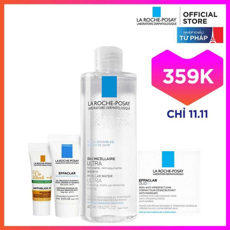 Bộ sản phẩm nước tẩy trang làm sạch sâu giàu khoáng dành cho da nhạy cảm La Roche Posay Micellar Water Ultra Sensitive Skin 400ML cao cấp