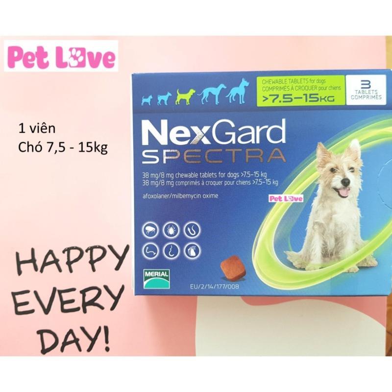 1 viên NexGard Spectra trị giun, ghẻ, viêm da, ve rận (chó 7,5 - 15kg)