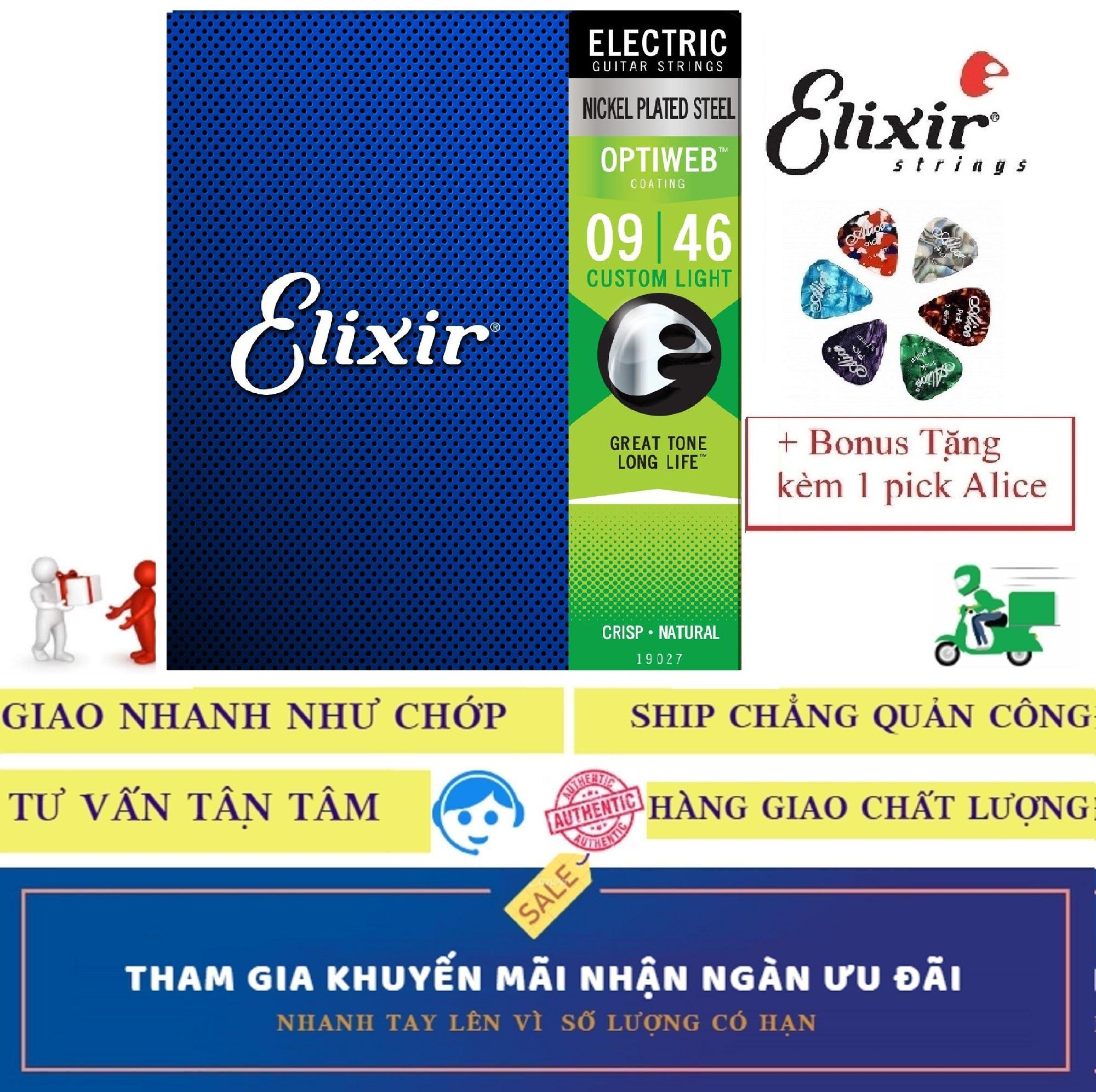 Bộ Dây Đàn Elixir cao cấp 19027 (Cỡ 9 - Custom Light) Electric Guitar điện Nickel Plated Steel With OPTIWEB COATING Strings