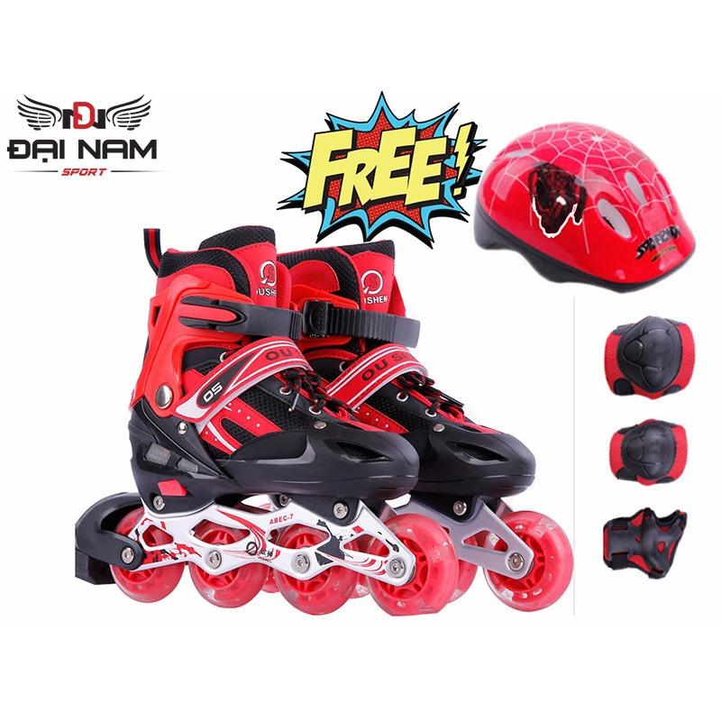 Giày patin trẻ em OS bánh xe phát sáng + Tặng bộ bảo hộ