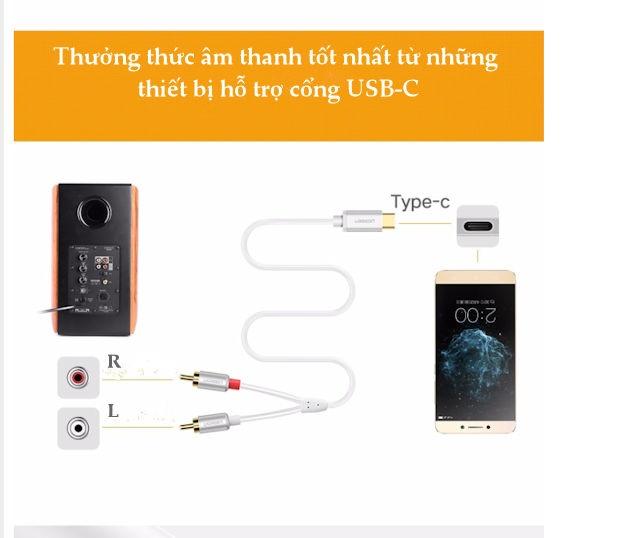 Cáp chuyển đổi USB type C sang 2 đầu hoa sen RCA cao cấp dài 0.5-3m UGREEN AV145