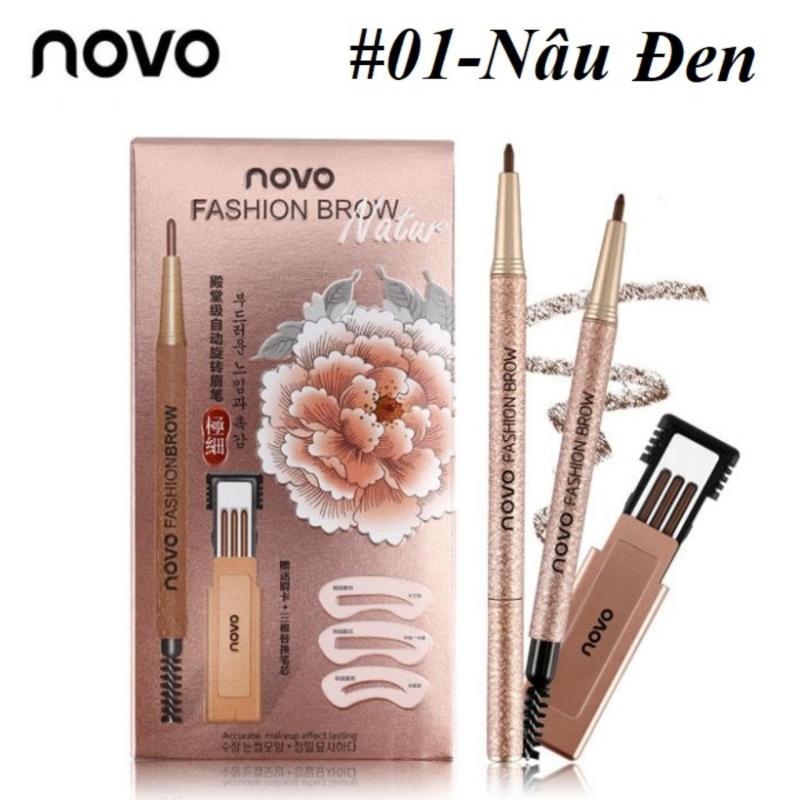 Bộ Chì Mày Định Hình Novo Fashion Brow + TẶNG Kèm 3 Khuôn Kẻ Mày Và 3 Đầu Chì Thay Thế giá rẻ