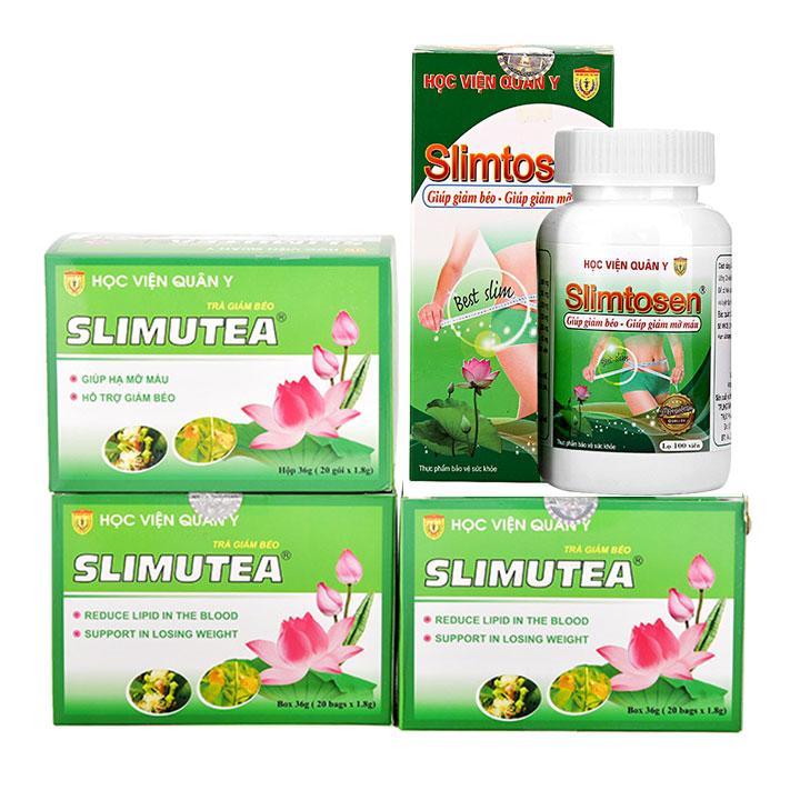 Liệu trình giảm cân 1 SLIMTOSEN + 3 TRÀ SLIMUTE học viện quân y