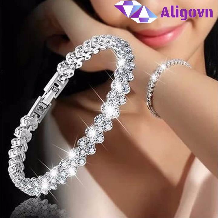 Lắc tay nữ mặt đính tinh khối kim cương thời trang mạ bạc (bạc,hồng) - Aligovn