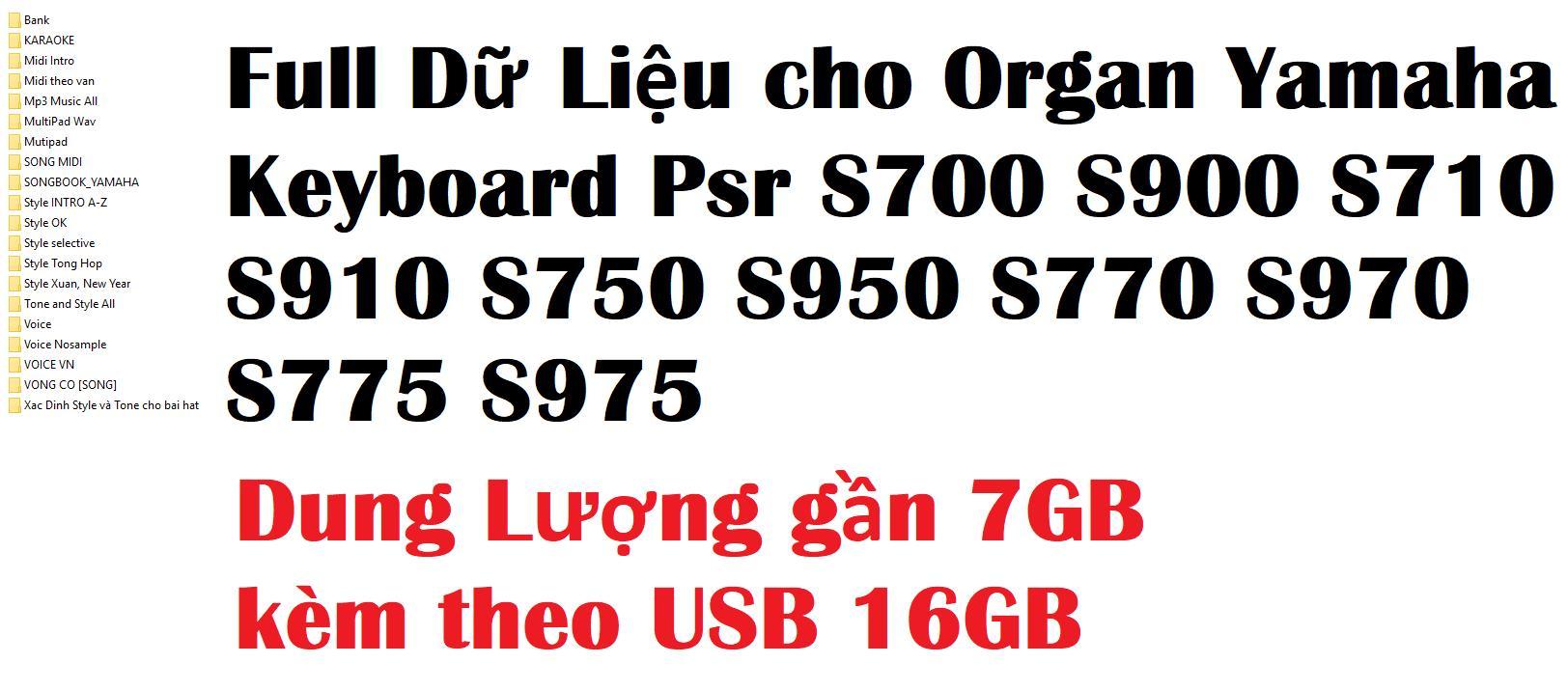 Style, Midi, Song Book, Karaoke, Bank, Voice Cho Organ Yamaha Keyboard S670 S700 S900 S710 S910 S750 S950 S770 S970 S775 S975 Đang Ưu Đãi Giá